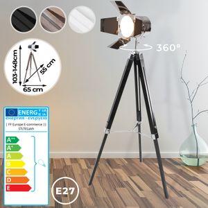 Jago® Stehlampe mit Stativ aus Holz - EEK: A++ bis E, LED, E27, Höhe max. 148 cm, Vintage, Schwarz Matt - Tripod Lampe, Dreifuss Stehleuchte, Standleuchte, Studiolampe