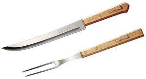Tranchierset barbecook Messer und Gabel Edelstahl / Holz 33cm
