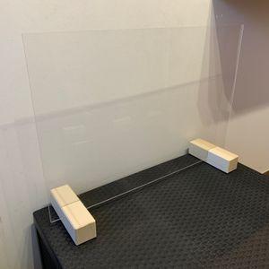 Elmato Hygiene Tröpfchenschutz Schutzscheibe Trennwand Schutzwand Thekenaufsatz Virenschutz 75x52cm