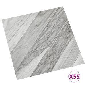 vidaXL PVC-Fliesen Selbstklebend 55 Stk. 5,11 m² Grau Gestreift