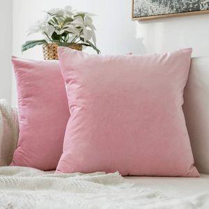 Kartokner 2er Set Samt Kissenbezug Kissenhülle Dekorative Dekokissen mit Verstecktem Reißverschluss Sofa Schlafzimmer 12x 12 Inch 30 x 30 cm Sakura Rosa