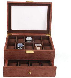 Uhrenbox für 20 Uhren, hrenkasten mit Glasdeckel,20 Slot Uhren Vitrine Schmuck Schrank Schublade Lagerung Organizer Fall