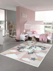 Kinderteppich Spielteppich Babyteppich Mädchen Einhorn Regenbogen rosa creme Größe - 80 cm Rund