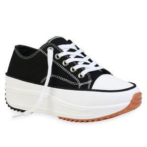 Giralin Damen Plateau Sneaker Keilabsatz Schnürer Profil-Sohle Schuhe 836492, Farbe: Schwarz, Größe: 37