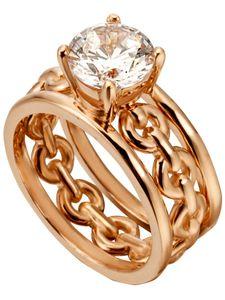 ESPRIT Ring Ann Damen Fingerring 925er Sterling Rosegold Zirkonia, Größe:18 mm