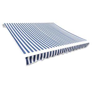 Hochwertigen Markisenbespannung Markise Gelenkarmmarkise Balkonmarkise Klemmmarkise Canvas Blau  Weiß 3 x 2,5 m (ohne Rahmen)