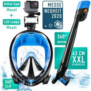Sportstech Sommertrend 2019! Easybreath Schnorchelmaske mit Druckausgleich, CO2 sichere 180° Panorama Vollgesichtsmaske, LED & Kamerahalterung, Tauchmaske SNX650 zum Schnorcheln, Vollmaske Farbe Blau, Größe S/M