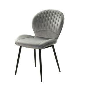 6002491 Daisy Grau Samt Stuhl Vierfußstuhl Esszimmerstuhl Küchenstuhl Sessel