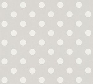 A.S. Création Punktetapete Boys & Girls gepunktete Tapete Vliestapete grau weiß 10,05 m x 0,53 m