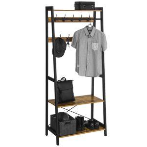 VASAGLE Garderobenständer mit 2 Regalen | Garderobe in Holzoptik 180 x 76 x 42,8 cm Kleiderständer mit Metallrahmen Vintage LGR13BX