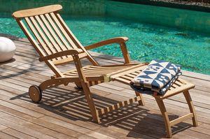 Garland Deckchair Liegestuhl Sunrise klappbar aus 100% Teakholz Gartenliege Sonnenliege