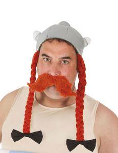 Obelix-Kopfbedeckung Kostüm-Accessoire grau-orange