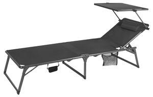 Countryside®  Alu-Sonnenliege mit Dach, abnehmbarem Kopfpolster und Seitentasche, zusammenklappbar, max. Belastung 110kg