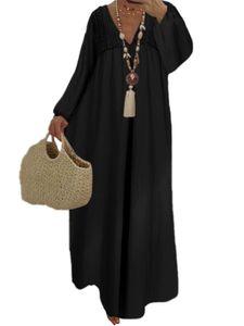Damen V-Ausschnitt Spitze Spleißen Langarm Maxikleid Böhmisches Langkleid Plus Size,Farbe: Schwarz,Größe:XXL