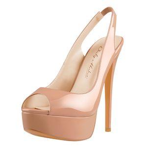 Only maker Damen Slingpumps Peeptoe Sandaletten Stiletto Absatz Sandalen High Heels Plateau Tan Lack 38 EU