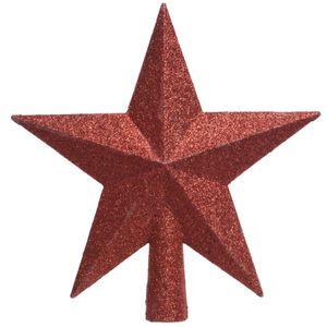 Bruchfeste Weihnachtsbaumspitze Rot mit Glitter aus Kunststoff
