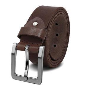 ROYALZ Antik Vintage Ledergürtel für Herren Büffel-Leder aus robusten 4mm Voll-Leder Jeans-Herren-Gürtel mit Dornenschließe 38mm, Größe:135, Farbe:Dunkelbraun - Schnalle gebürstet