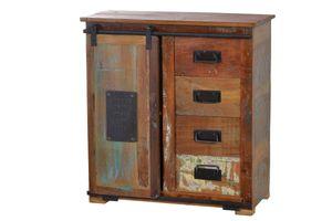 Sit Möbel JUPITER Brotschrank Altholz | L 77 x B 38 x H 80 cm | natur, bunt  | 11301-98 | Serie JUPITER