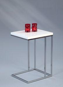Beistelltisch Michi in weiß - Metall verchromt - 38 x 43 x 62.5 cm