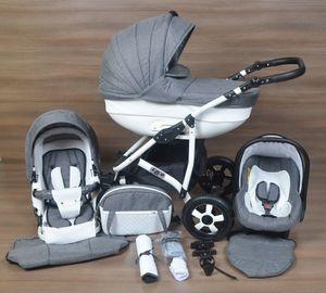 LUXUS Kombi Kinderwagen  3 in 1 Komplettset - grau/weiß mit Kunstlederelementen