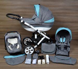LUXUS Kombi Kinderwagen ALU  3in1 Babyschale Autositz Babywanne Sportsitz(2,Lufträder weiss,weiss)