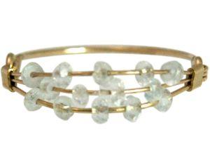 Damen Ring Vergoldet Aquamarin Blau Ringgröße:61 (19.4)