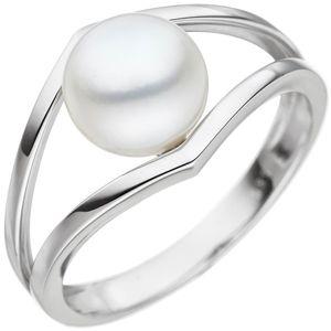JOBO Damen Ring 50mm 585 Gold Weißgold 1 Süßwasser Perle Perlenring Weißgoldring