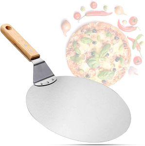 Pizzaschaufel aus Edelstahl mit Holzgriff, Pizzaschieber für Pizzastein, Brotschieber, Tortenheber, Pizzaheber