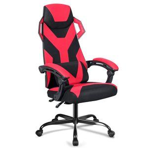 COSTWAY Gaming Stuhl, Massagestuhl mit Raedern, Racingstuhl mit Armlehne, verstellbare Rueckenlehne, Kopfstuetze und Lendenkissen, grosser Computerstuhl mit hoher Rueckenlehne Rot