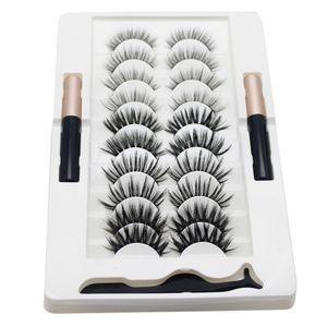10 Paar Magnetische Wimpern + 2 Wasserdichte Eyeliner Wimpern + Wimpernpinzette, Falsche Wimpern mit Magnet