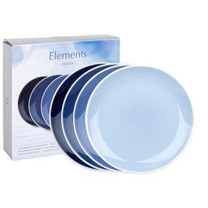 WAECHTERSBACH 41 5 973 5000 Elements Frühstücksteller Ocean, Bone China Porzellan, Ø 19 cm, blau (4er Pack)