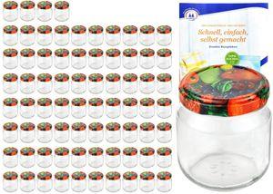 75er Set Rundglas 212 ml nieder To 66 Obst Nachbildung Deckel Sturzgläser Einmachgläser incl. Rezeptheft