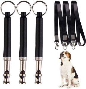 3 Stück Hundepfeife mit Band Hütehunde Pfeife Trainingspfeife Hundepfeifen mit Schlüsselband für Hundetraining Pfeife Schwarz