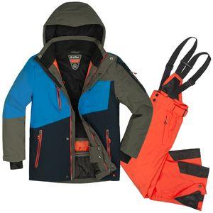 Skianzug Kinder Skijacke + Skihose Gr. 176 - Gr. 176   blau/dunkelorange