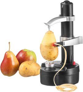 Topchances Elektrischer Kartoffelschäler Apfelschäler Gemüseschäler Obstschäler Elektro Schäler für Obst & Gemüse, Edelstahl-Klinge (Schwarz)