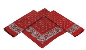 Betz 3er Pack XL Nickituch Blumenmuster Bandana Kopftuch Halstuch Größe ca. 60 x 60 cm 100% Baumwolle Farbe rot