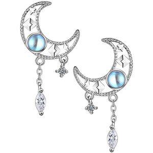 Mllaid Mond Ohrringe Strass Kristall Ohrstecker Cubic Zirkonia Bling Mond Ohrringe Retro-Schmuck Silber Vintage-Ohrringe für Frauen