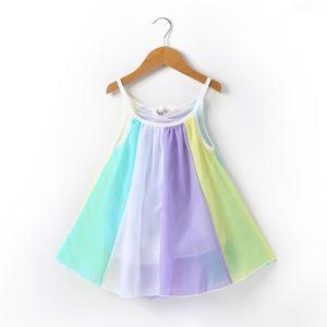 Kinder Mädchen 1-5 Jahre Regenbogen Ärmelloses Prinzessin Kleid Freizeitkleidung,Farbe:Weiß,Größe:130cm 4-5 Years