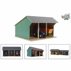Kids Globe Spielzeug-Scheune für Traktoren Klein 1:32 Holz 610192
