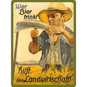Nostalgic-Art - Blechschild Metallschild 20x30cm - Wer Bier trinkt hilft... -