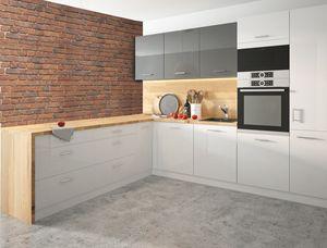 Küchenzeile 160x253cm L-Form 10-tlg. weiß / weiß-graphit Acryl Hochglanz Einbauküche Küchenblock Küche