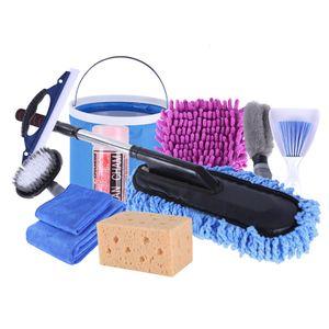 11 Stück / Set Autowaschwerkzeug Reinigungsset Mikrofaserhandschuh Handtuchbürste Faltschaufel Schwammwachsmopp für Autowaschwerkzeug