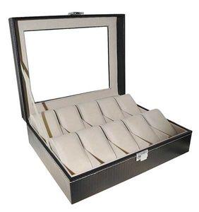Leder Uhrenbox für 10 Uhren Uhrenkoffer Sammelbox schwarz