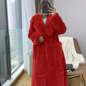 Frauen Plus Size Luxus Kunstpelz Mantel Warme Oberbekleidung Langer Mantel Größe:XXL,Farbe:Rot