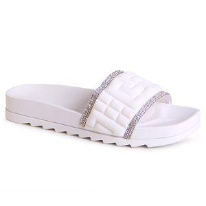 topschuhe24 2097 Damen Plateau Pantoletten Sandalen, Farbe:Weiß, Größe:39 EU