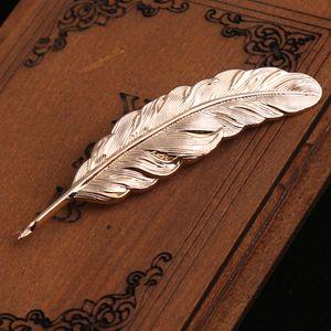 Vintage Feder Form Brosche Nadel Brooch Pins Mode Dekoration Gold