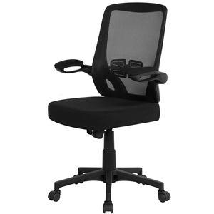 Yaheetech Bürostuhl ergonomischer Drehstuhl mit klappbaren Armlehnen Chefsessel Schreibtischstuhl Höhenverstellung office Stuhl Computerstuhl Schwarz