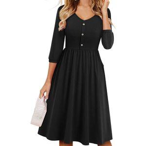 Damenmode Dreiviertel-Ärmel V-Ausschnitt Tasche Knie Pure Color Kleid Größe:M,Farbe:Schwarz