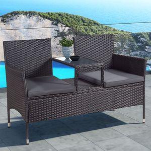 Juskys Polyrattan Gartenbank Monaco schwarz - 2-Sitzer Bank mit integriertem Tisch & Kissen in Grau - 133 × 63 × 84 cm - Sitzbank wetterfest