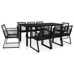 9-teiliges Outdoor-Essgarnitur Garten-Essgruppe Sitzgruppe Tisch + stuhl PVC Rattan Schwarz